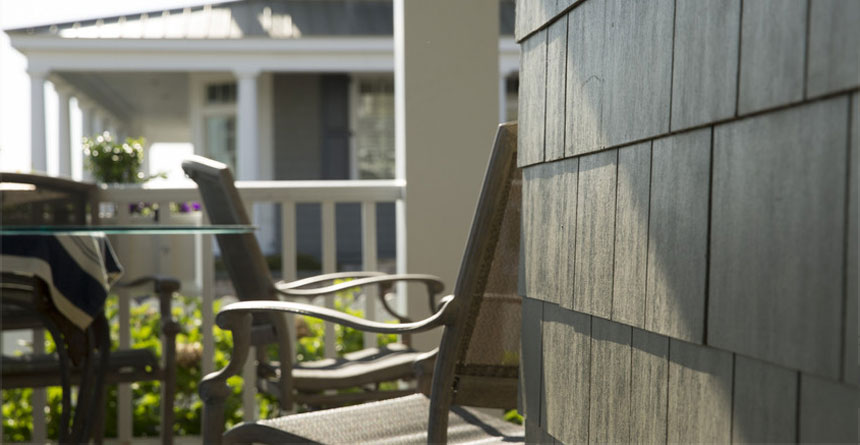 HardieShingle® Siding in Straight Edge Panel on Porch